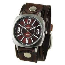 nemesis watches overstock com the best prices on designer mens nemesis burgundy comely unisex watch vintage brown embossed stripes leather cuff band