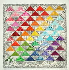 245 best Rainbow quilts images on Pinterest | Contemporary ... & Half-square Triangles quilt - rainbow plus low volumes Adamdwight.com