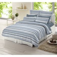 casual teen bedroom with blue white striped bedding set brushed cotton duvet material brushed