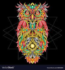 Owl Ornament Tribal Tattoo Artwork With Editable L