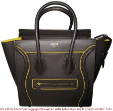 us céline imitation luggage new micro with interstice dark taupe leather tote celine frame