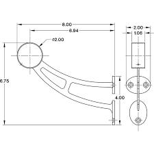 bar mount foot rail bracket metal grey 2 inch od