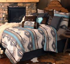 Southwestern bedding at it's finest is shown in our Dakota Blue Bedding.  $345-Q