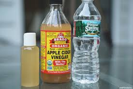 organic apple cider vinegar only water i like to use distilled but did not have it for this post clear plastic bottle