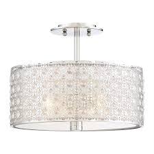 quoizel platinum verity 15 in w polished chrome crystal semi flush mount light