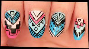 Pink & Blue Tribal nail art - YouTube