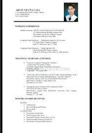 Resume Templates For Undergraduate Students First Job Resume ...
