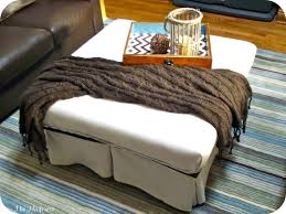 Nice White Leather Square Ottoman Coffee Table And Chevron Tray Adorable  Furniture Living Room Ottoman Coffee Table Tray Top