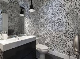 Wallpapered office home design Geometric Contemporary Bathroom Design With Black And White Wallpaper Design Homedit Black And White Wallpapers To Help You Finish Decorating