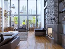 Loft Apartment Interior Design With Panoramic Window Living Stock Extraordinary Loft Apartment Interior Design