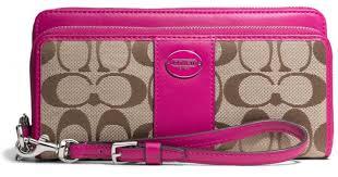 Lyst - Coach Legacy Double Zip Accordion Zip Wallet in Signature Fabric in  Pink