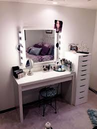 diy makeup vanity table. Lovely Diy Makeup Vanity Table With Side Graded Slide Out Drawer Featuring Square Lighting And Iron Back Chair T