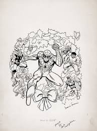 Spiderman coloring pages , spiderman is chasing enemies, coloring pages tv music: Marvel Christmas Coloring Book Cover Spider Man Iron Man Thor Hulk Captain America Green Goblin Loki Red Skull Rhino Santa 1984 Comic Art For Sale By Artist Marie Severin At Romitaman Com