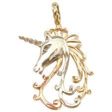 vintage 14k gold tri color unicorn