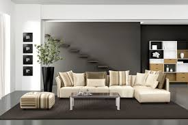 striped sofas living room furniture. L Cream Leather Sectional Sofa With Striped Cushions And Rectangle Glass Table On Black Rug Sofas Living Room Furniture T