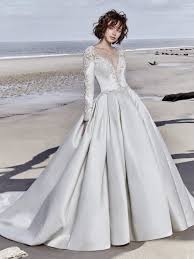 Long Sleeved V Neck Crystaled Lace And Satin Ball Gown Wedding Dress