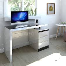 white high gloss pc computer desk black glass top 3 drawer home office furniture white co uk kitchen home