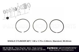 engine building service by patrick motorsports porsche mid set of piston rings standard 95 00mm 1980 1989 porsche 911