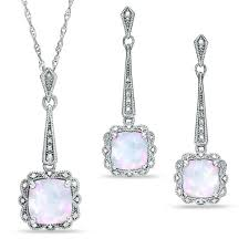 cushion cut lab created opal vine style pendant and earrings set in sterling silver