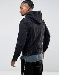 asos au asos hooded denim jacket men black