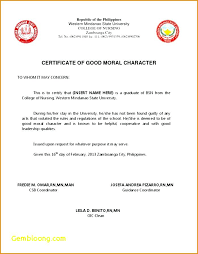 Sample Of Certificate Of Good Moral Character From Barangay Archives