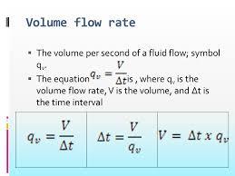 volume flow rate the volume per second of a fluid flow symbol qv