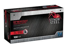 Venom Steel Nitrile Gloves Rip Resistant Disposable Latex