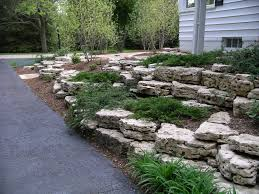 terraced holey boulder retaining walls in mequon wisconsin