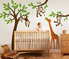baby nursery decals baby wall decals jungle tree with monkeys and stretching giraffe wall decal wall
