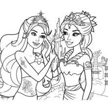 thumb beautiful mermaids mom and daughter barbie coloring sheet_h8p barbie coloring pages hellokids com on barbie coloring printable