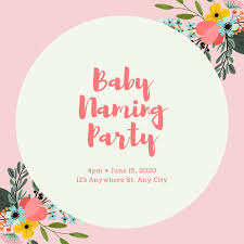 Pink Baby Naming Ceremony Invitation Templates By Canva