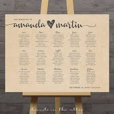 Large Wedding Seating Chart Printable Guest Table