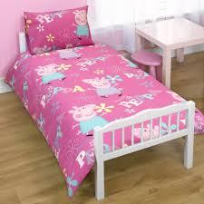 Peppa Pig Bedroom Accessories Childrens Girls Peppa Pig Junior Bed Quilt Duvet Cover Bedding Set