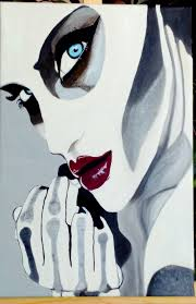 woman painting blue eye face art sketch drawing ilration y fantasy character anime cartoon form