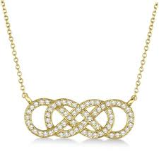 multiple infinity diamond pendant necklace 14k yellow gold 0 34ct
