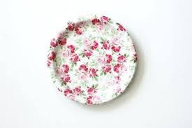 Pink Flower Paper Plates Shabby Chic Paper Plates 8 Floral Tea Party Paper Plates Vintage