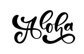 Aloha Lettering Vector Calligraphy Illustration Hawaiian Handmade