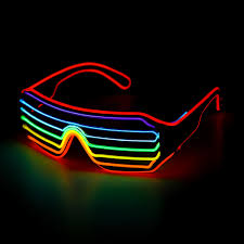 Halloween Neon Lights Voice Control El Glasses Neon Party Flashing Light Up Sunglasses Bar Halloween Goggles