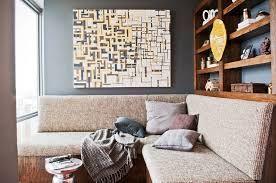 Inspiring Interior Decors With Bachelor Pad Large Wall Art Also Built In  Shelves Over L Shape Sofa In Small Living Room Decors