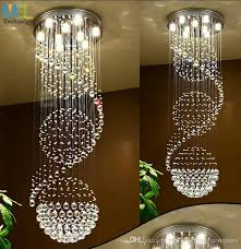 modern led crystal chandeliers lights ceiling indoor light hanging suspension fixtures luminaire simple staircase light round hall villa plug in pendant