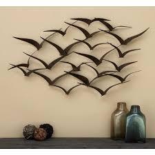 flock of birds metal wall sculpture in flight 47 in hanging art decoration new