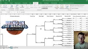 Excel Ncaa Tournament Bracket 2017 Ncaa Tournament Bracket Generator Excel Youtube