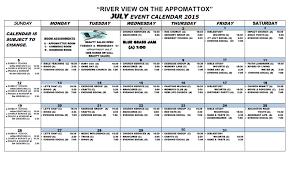 Activity Calendar July 2015 River View Health Rehab Center