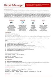 Retail Manager Cv Template Resume Examples Job Description Within