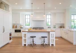 White Kitchen Island with Shelves and Butcher Block Top