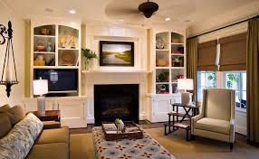 Built In Shelves Around Fireplace Living Room Beach Style With