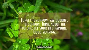 Quotes Saying Good Morning To Someone Special Best Of Forget Tomorrow Say Goodbye To Sorrow Think About The Future Let
