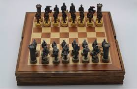 Wooden Board Game Sets The Chess Set Warrior Resin Characters Wooden Board Chess Set 31