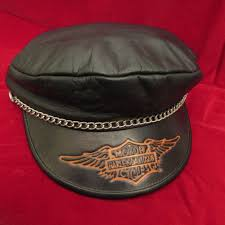 harley davidson black leather captains hat cap wing logo chain size small usa