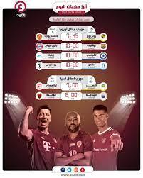 مواعيد مباريات اليوم الثلاثاء 14 سبتمبر 2021 والقنوات الناقلة